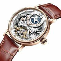 Luxury Business Mechanical Skeleton Watch Tourbillon Moon Waterproof Time Zones