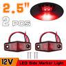 "2x Red LED 2.5"" 2 Diode Lights Oval Clearance Trailer Truck Side Marker Lamp 12V"