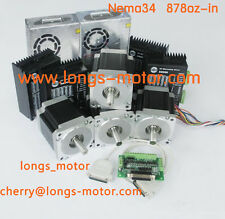 4Axis Nema34 Stepper Motor with 878OZ-In & Driver DM860A CNC Router longs_motor