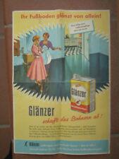 Altes Plakat Werbeblatt GLÄNZER schafft das Bohnern ab Erdal Werke 1950er