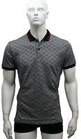 Polo Neck Nwt GUCCI Black Color Short Sleeve Cotton Men's  Shirt  M.L.XL.2XL.3XL