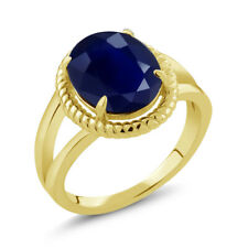 5.00 Ct Oval Blue Sapphire 18K Yellow Gold Plated Silver Ring