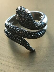 Simon G Black Diamond and White Diamond 18k White Gold Snake Ring