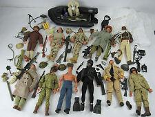 "Large Lot of 11 GI Joe 12"" Inch Figures w/ Guns Boat Clothes Dog Tags 1996 Rare"
