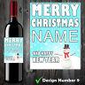 Personalised Wine Champagne Bottle Label Christmas Gift Nanny Grandad Sister