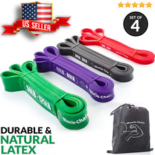 Set of 4 Heavy Duty Pull Up Resistance Bands Exercise Assist in Body Stretching