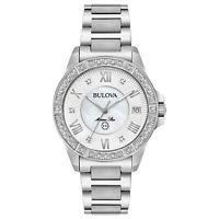 Bulova Marine Star Women's Quartz Silver-Tone Bracelet 34mm Watch 96R232