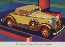 Old Print. 1933 Chevrolet Master Six Sport Roadster Automobile