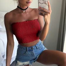 Sexy Women Off Shoulder Crop Tops Bra Elastic Strapless Bandeau Tube Tops Shirt