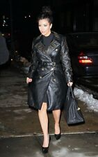 VERSACE H&M Kim Kardashian Leather Black Gold Silver Stud Button Trench Jacket 4
