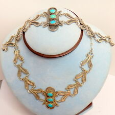 212.Antikes ägyptisches Schmuckset Collier,Armband Türkis aus 800 Silber Kairo