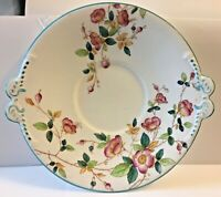 ANTIQUE ENGLISH POTTERY PEARLWARE BLUE RIMMED PLATE EMBOSSED HANDLES * 1800'S