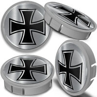4 x 60mm Silver Gray Black Iron Cross Car Rim Alloy Wheel Center Hub Centre Caps