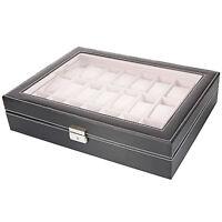 Leather 24 Slots Men Watch Box Display Case Organizer Jewelry Storage
