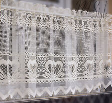 "KITCHEN Lace Cafe Curtain HEARTS drop 24"" Sold Per Metres READY TO HANG HEMMED"