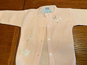 Vintage Marshall Field Pink Infant Baby Doll Bee Flower Sweater New SKU 065-008