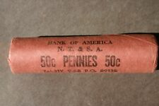 1969 D Lincoln Cent Original Bank Wrap Roll Rare Bank Of America Obw Unc Penny
