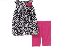 NEW Infant Toddler Animal Print Chiffon Bubble Tank Pink Leggings Set 18M 24M 3T