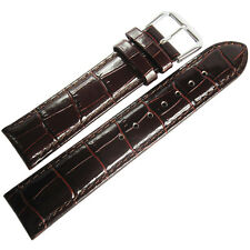 19mm deBeer Mens Brown Crocodile-Grain Leather Matching Stitch Watch Band Strap