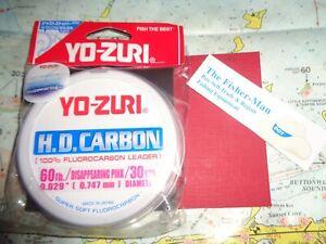 YO-ZURI FLUOROCARBON 60LB NEW 30 YARD SPOOL YO-ZURI DISAPPEARING PINK LEADER