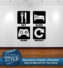 EAT SLEEP GAME REPEAT SQUARES WITH TEXT GRAPHIC DECOR STICKER WALL ART COLOURS