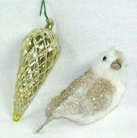 "LOT LARGE 6.5"" BLOWN ART GLASS GOLD PINE CONE CHRISTMAS TREE ORNAMENT WHITE BIRD"