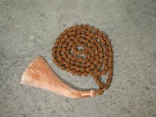 4-mukhi 6.5mm Rudraksha Hand Knotted Mala Necklace (Natural Undyed Beads) with a