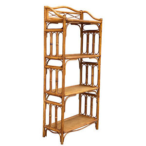 Vintage Boho Chic Bent Rattan Wicker Display Shelf