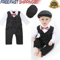 Baby Boy Romper Newborn Gentleman Tuxedo Wedding Outfit Infant Bowtie Long Suit