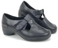 Thom Mcan Hilliard Sz 6 W US, 37.5 EU Black Leather T-Strap Clogs Shoes 40762