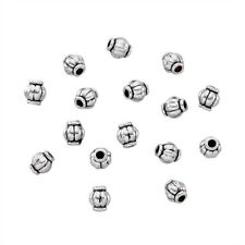 100 Tibetan Alloy Barrel Metal Beads Corrugated Loose Spacers Antique Silver 4mm