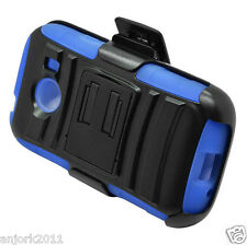 SAMSUNG GALAXY ACE STYLE S765C HYBRID CASE SKIN COVER+HOLSTER BLACK BLUE