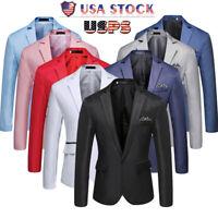 Handsome Men Stylish Solid Blazer Business Wedding Party Outwear Coat Suit Tops