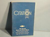 82 1982 Chevrolet Citation owners manual