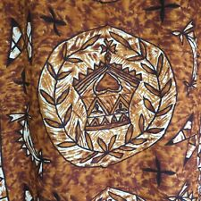 "Vintage Gordon Hawaiian Fabrics Barkcloth Fabric 2 Yds 12"" Brown Black Cream"