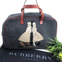 Burberry Authentic Vintage 90s Denim Embroidered Satchel Tote Bag Red Blue Rare