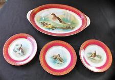 Antq LS&S CARLSBAD AUSTRIA Maroon Gold GAME BIRD Set 3 Salad Plates Oval Platter