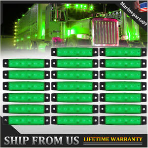 20X 6 LED Green Truck Trailer Side Marker Clearance Lights