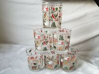 Christmas Old Fashioned Glasses Window Pane Drinking Juice Tumblers Set of 6