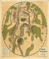 1863 Battle of Gettysburg Civil War Map Wall Art Poster Military Battles History