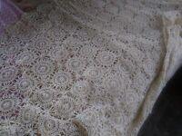 "Vintage Hand Crochet 66"" x 84""  Tablecloth / Bed Coverlet Ecru Beige Rectangle"