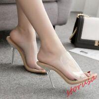 2019 Summer Peep Toe Stiletto High Heels Clear Transparent Slippers Pump Mule sz