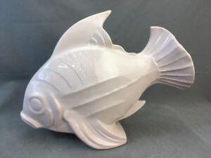 Large 1930's LEJAN France Blush Pink Craquelé Art Deco Ceramic Fish