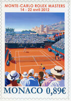 Postcard with Monaco 2012 Stamps of Monte-Carlo Rolex Masters Tennis Sports
