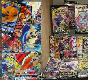 50 Pokemon Cards Bulk + BOOSTER PACK 1x Ultra/Rare/EX/V/Vmax/GX + holo/shiny/rev