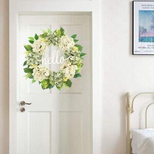 21.6'' Antique Hydrangea White Wreath Spring Summer Floral Wreath for Front Door