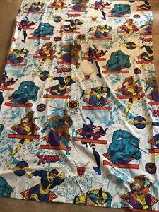 Vintage 1994 X-Men Twin Flat Bed Sheet Marvel Comics Wolverine Rogue Mutant U