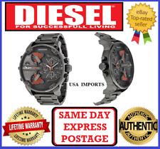 DIESEL DZ7315 MR DADDY 2.0 GUNMETAL Multiple Time Zone Chronograph Mens Watch