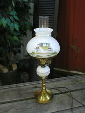 """Scroll Arched Caleche Coach Hurrican Style Lamp Milk Glass Brass Base 23"""" Tall"""