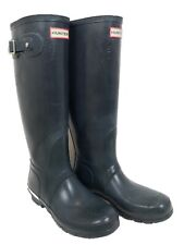 Hunter Original Gloss Rain Boots Gray Blue Buckle Tall Unisex Sz US 8M/9F